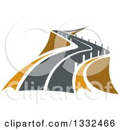Clipart Of A Curvy Raised Road Or Highway With Barrier Posts Royalty Free Vector Illustration