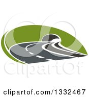 Clipart Of A Road Leading Through A Tunnel Royalty Free Vector Illustration