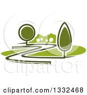 Clipart Of A Curvy Driveway Or Road Through A Green Landscape Or Park Royalty Free Vector Illustration by Seamartini Graphics
