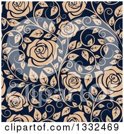 Clipart Of A Seamless Pattern Of Tan Roses On Navy Blue 3 Royalty Free Vector Illustration