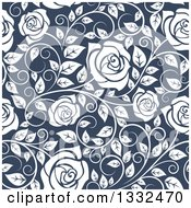 Clipart Of A Seamless Pattern Of White Roses On Blue 2 Royalty Free Vector Illustration