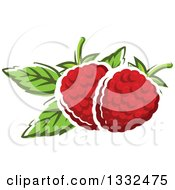 Clipart Of Cartoon Raspberries And Leaves Royalty Free Vector Illustration by Vector Tradition SM