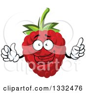 Clipart Of A Cartoon Raspberry Character Holding Up A Finger Royalty Free Vector Illustration