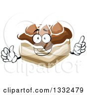 Clipart Of A Cartoon Chocolate Cake Character Holding Up A Finger Royalty Free Vector Illustration