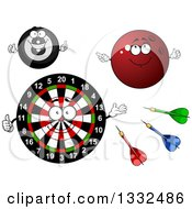 Clipart Of Cartoon Darts Target Board Bowling Ball And Eight Ball Characters Royalty Free Vector Illustration