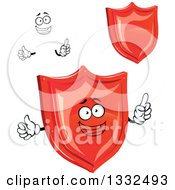 Cartoon Face And Shiny Red Shields
