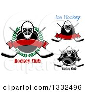 Clipart Of Hockey Masks Pucks And Crossed Sticks With Text Royalty Free Vector Illustration