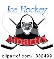 Clipart Of Text Over A Hockey Mask Puck Crossed Sticks And Blank Red Banner Royalty Free Vector Illustration