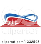 Clipart Of A Blue And Red Sports Stadium Building Royalty Free Vector Illustration