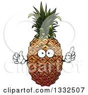 Clipart Of A Pineapple Character Holding Up A Finger Royalty Free Vector Illustration