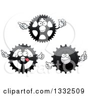 Clipart Of Cartoon Gear Cog Wheel Characters Royalty Free Vector Illustration