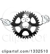 Clipart Of A Cartoon Gear Cog Wheel Character Pointing And Giving A Thumb Up Royalty Free Vector Illustration