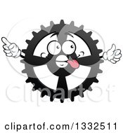 Clipart Of A Cartoon Goofy Gear Cog Wheel Character Pointing And Giving A Thumb Up Royalty Free Vector Illustration