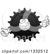 Clipart Of A Cartoon Gear Cog Wheel Character Holding Up A Finger Royalty Free Vector Illustration