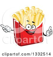 Clipart Of A Cartoon French Fries Character Holding Up A Finger And Poniting Royalty Free Vector Illustration by Vector Tradition SM