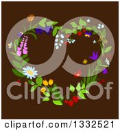 Clipart Of A Floral Heart Shaped Wreath On Brown Royalty Free Vector Illustration