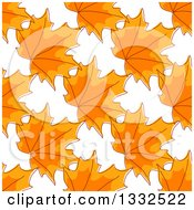 Seamless Background Pattern Of Sketched Orange Autumn Maple Leaves