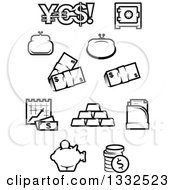 Clipart Of Black And White Finance Icons Royalty Free Vector Illustration