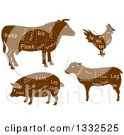 Clipart Of A Brown Silhouetted Cow Chicken Sheep And Pig Showing Cuts Of Meat And Text Royalty Free Vector Illustration by Vector Tradition SM