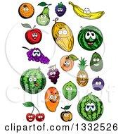 Cartoon Fruit Characters Smiling