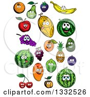 Clipart Of Cartoon Fruit Characters Smiling Royalty Free Vector Illustration