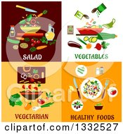 Flat Designs Of Salads Vegetables And Healthy Foods
