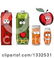 Clipart Of A Happy Red Apple Character And Juice Cartons And Cups 3 Royalty Free Vector Illustration by Vector Tradition SM