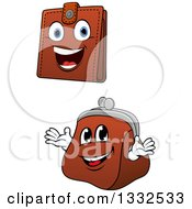 Clipart Of Cartoon Leather Wallet And Coin Purse Characters Royalty Free Vector Illustration by Vector Tradition SM
