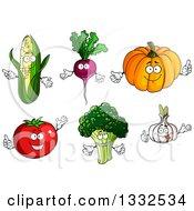 Clipart Of Cartoon Corn Beet Or Radish Pumpkin Garlic Broccoli And Tomato Characters Royalty Free Vector Illustration