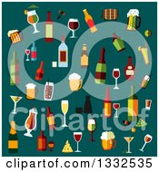 Clipart Of Flat Design Alcoholic Beverages On Teal Royalty Free Vector Illustration