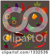 Clipart Of Flat Design Vegetables On Brown Royalty Free Vector Illustration
