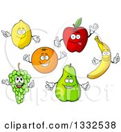 Clipart Of Cartoon Lemon Apple Orange Banana Pear And Green Grape Characters Royalty Free Vector Illustration
