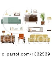 Clipart Of Retro Household Furniture 4 Royalty Free Vector Illustration