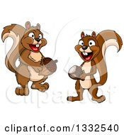 Clipart Of Cartoon Happy Brown Squirrels Holding Acorns Royalty Free Vector Illustration by Vector Tradition SM