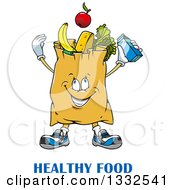 Clipart Of A Cartoon Paper Grocery Bag Character Full Of Foods Over Text Royalty Free Vector Illustration