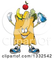 Clipart Of A Cartoon Paper Grocery Bag Character Full Of Foods Royalty Free Vector Illustration by Vector Tradition SM