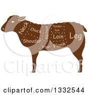 Clipart Of A Silhouetted Brown Sheep With Meat Cuts 2 Royalty Free Vector Illustration by Vector Tradition SM