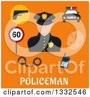 Clipart Of A Flat Design Male Police Officer And Items On Orange Over Text Royalty Free Vector Illustration by Vector Tradition SM