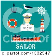 Clipart Of A Flat Design Male Sailor Captain And Nautical Items On Turquoise With Text Royalty Free Vector Illustration by Vector Tradition SM