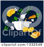 Clipart Of A Flat Design Roasted Chicken Bread And Vegetables On Navy Blue Royalty Free Vector Illustration by Vector Tradition SM