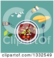 Clipart Of A Flat Design Bowl Of Vegetarian Soup With Seasonings On Turquoise Royalty Free Vector Illustration by Vector Tradition SM