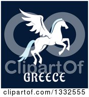 Clipart Of A Flat Design Greek Pegasus Over Text On Navy Blue Royalty Free Vector Illustration by Vector Tradition SM