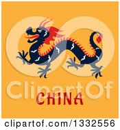 Clipart Of A Flat Design Chinese Dragon On Orange Royalty Free Vector Illustration by Vector Tradition SM