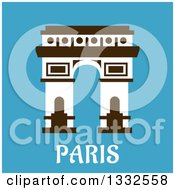 Clipart Of A Flat Design Arc De Triomphe With Paris Text On Blue Royalty Free Vector Illustration