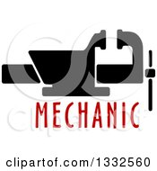 Clipart Of A Vice Tool Over Red Mechanic Text Royalty Free Vector Illustration by Vector Tradition SM