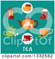 Clipart Of A Flat Design Of A Tea Pot With Other Items On Turquoise Over Text Royalty Free Vector Illustration by Vector Tradition SM