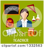 Clipart Of A Flat Design Female Math Teacher With Accessories Over Green With Text Royalty Free Vector Illustration