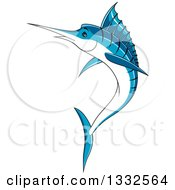Clipart Of A Cartoon Leaping Blue Marlin Fish Royalty Free Vector Illustration