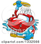 Clipart Of A Cartoon Red Car Washing Itself With A Brush Royalty Free Vector Illustration