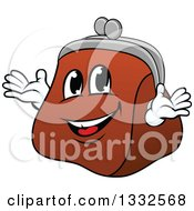 Clipart Of A Cartoon Leather Coin Purse Character Royalty Free Vector Illustration by Vector Tradition SM